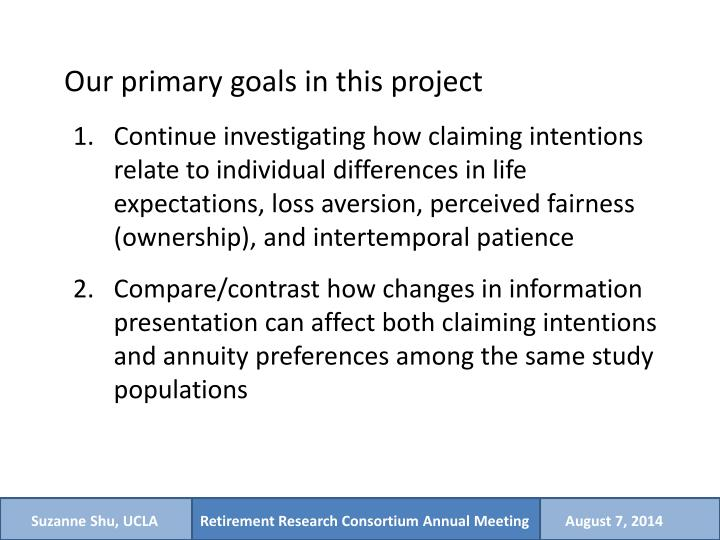 Our primary goals in this project