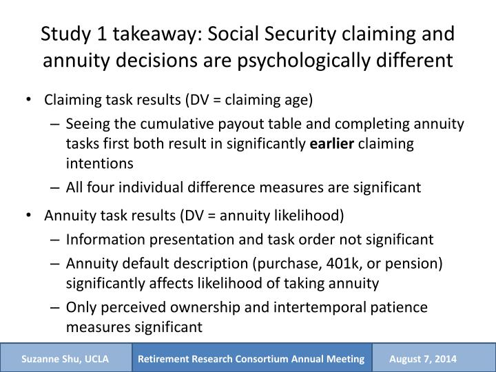 Study 1 takeaway: Social Security claiming and annuity decisions are psychologically different