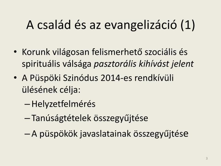 A család és az evangelizáció (1)