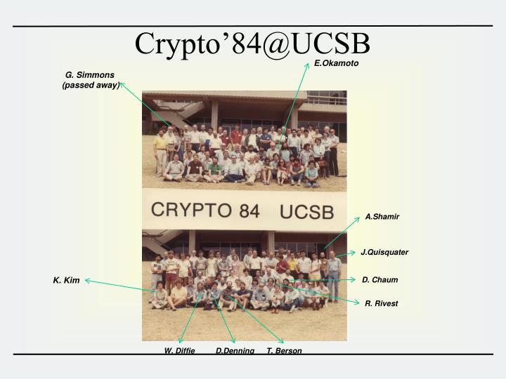 Crypto'84@UCSB