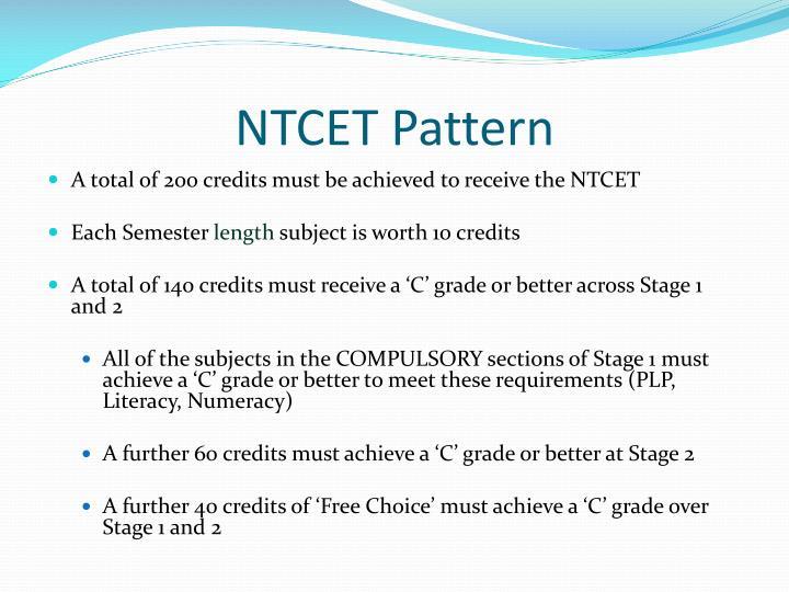NTCET Pattern