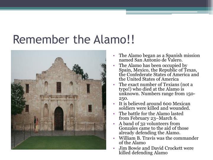Remember the Alamo!!
