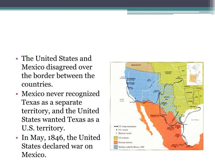The United States and Mexico disagreed over the border between the countries.