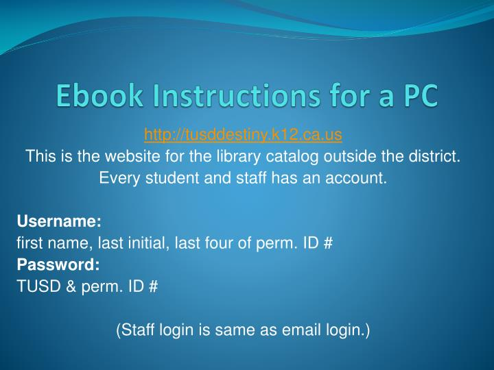 Ebook instructions for a pc