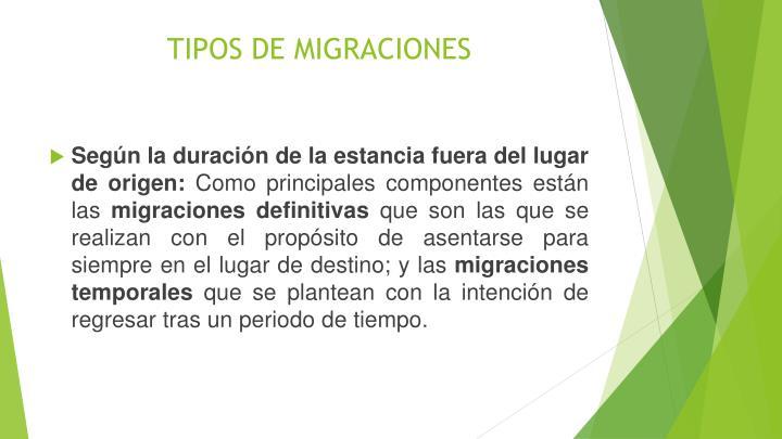 TIPOS DE MIGRACIONES