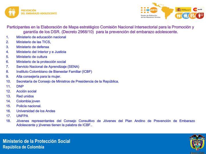 Participantes en la Elaboración de Mapa estratégico Comisión Nacional Intersectorial para la Promoción y garantía de los DSR. (Decreto 2968/10)  para la prevención del embarazo adolescente.