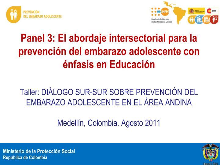 Panel 3: El abordaje intersectorial para la prevención del embarazo adolescente con énfasis en Educación