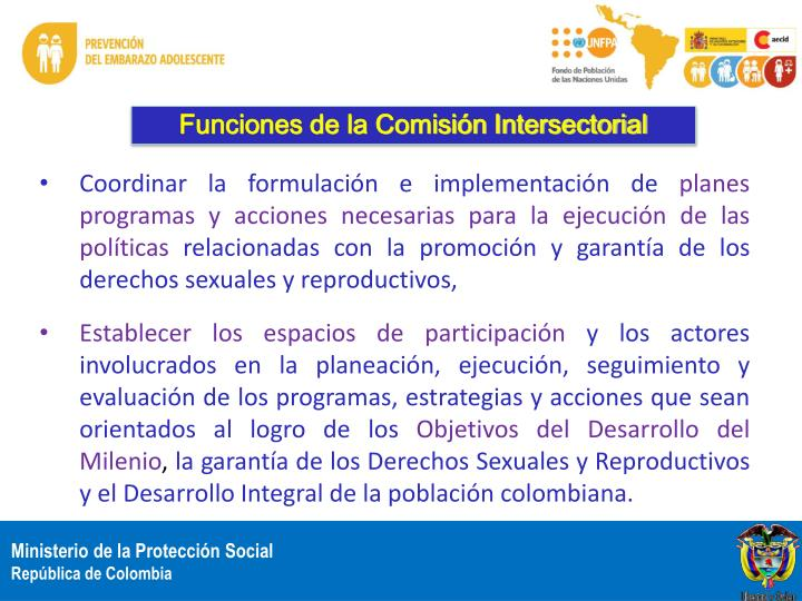 Funciones de la Comisión Intersectorial