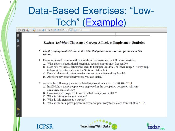 "Data-Based Exercises: ""Low-Tech"" ("