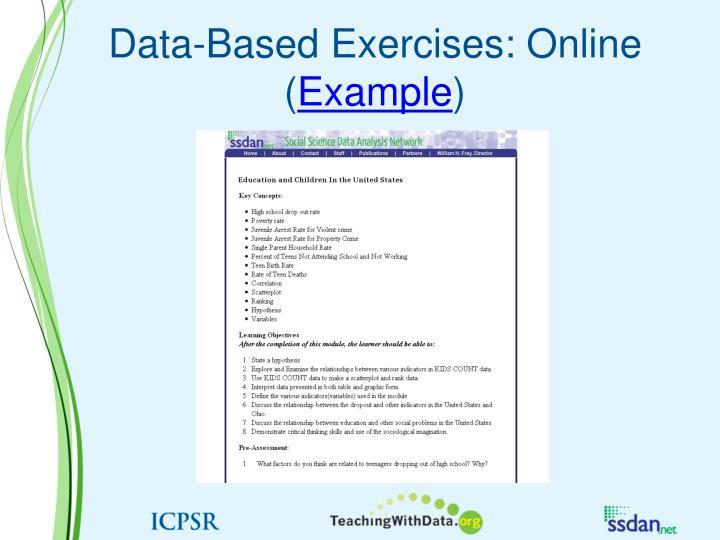 Data-Based Exercises: Online (