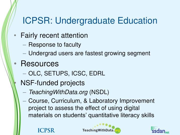 ICPSR: Undergraduate Education