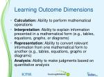 learning outcome dimensions
