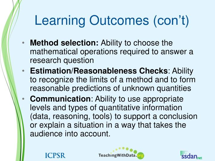 Learning Outcomes (