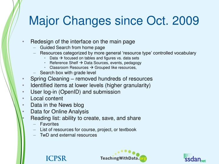 Major Changes since Oct. 2009