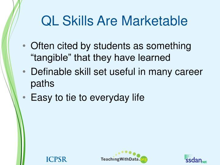 QL Skills Are Marketable