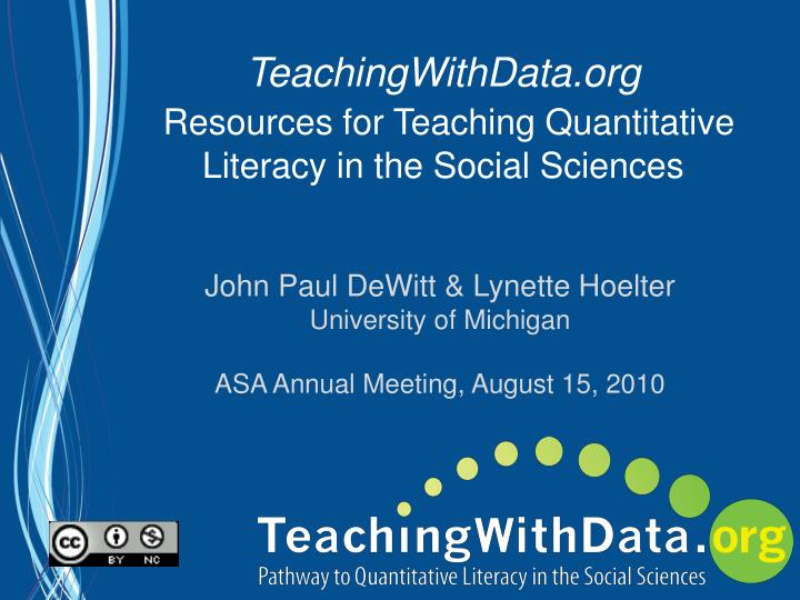 Teachingwithdata org resources for teaching quantitative literacy in the social sciences