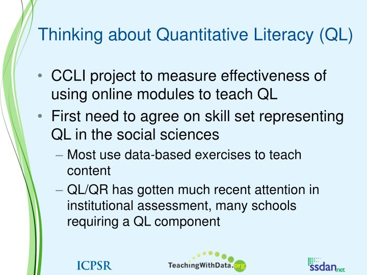 Thinking about Quantitative Literacy (QL)