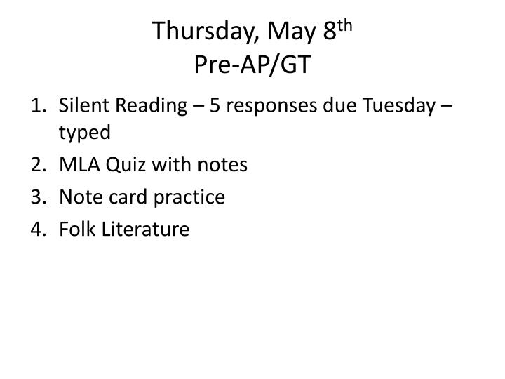Thursday, May 8