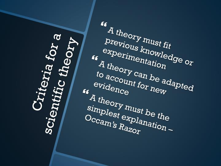 A theory must fit previous knowledge or experimentation