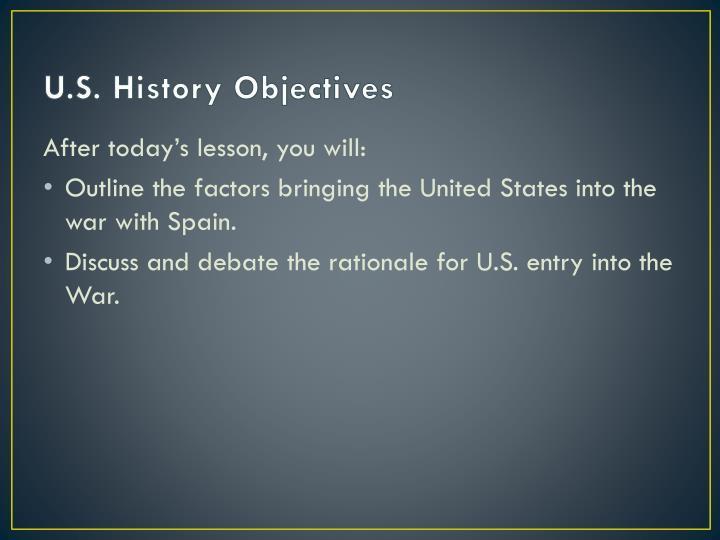 U.S. History Objectives