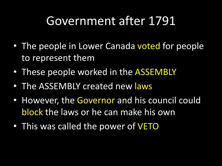 Government after 1791