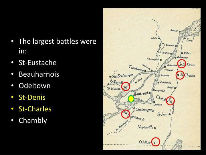 The largest battles were in: