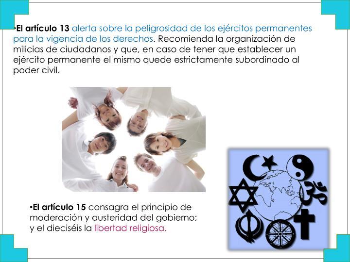 El artículo 13