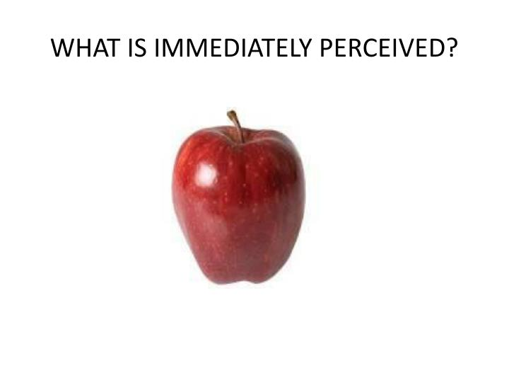 WHAT IS IMMEDIATELY PERCEIVED?