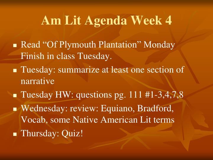 Am Lit Agenda Week 4