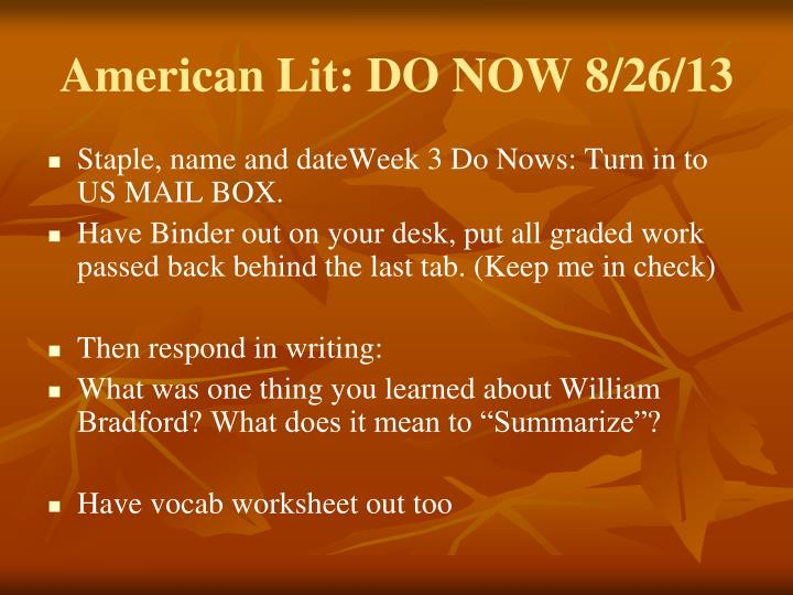American lit do now 8 26 13