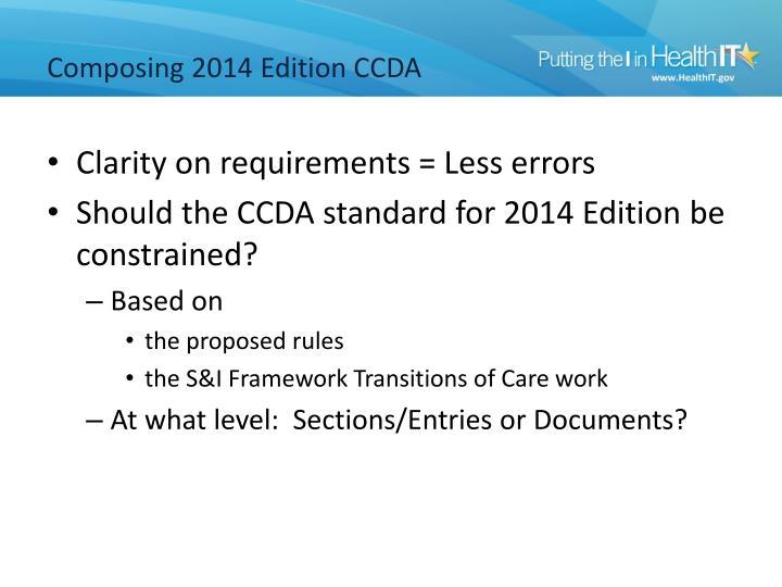 Composing 2014 Edition CCDA
