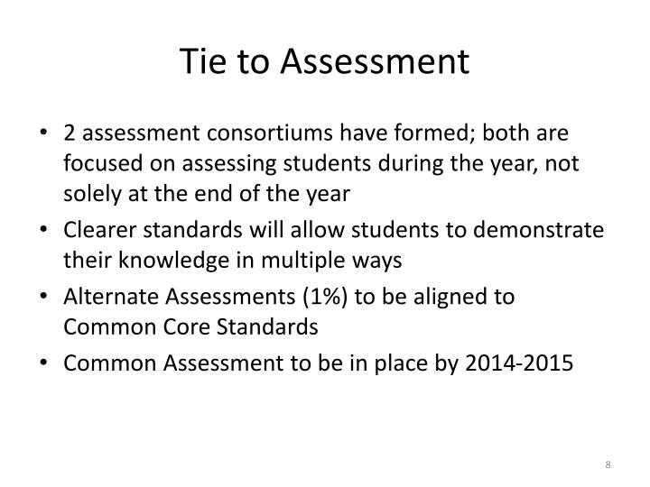 Tie to Assessment