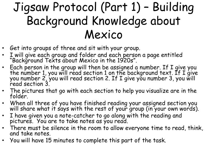 Jigsaw Protocol (Part 1) – Building Background Knowledge about Mexico