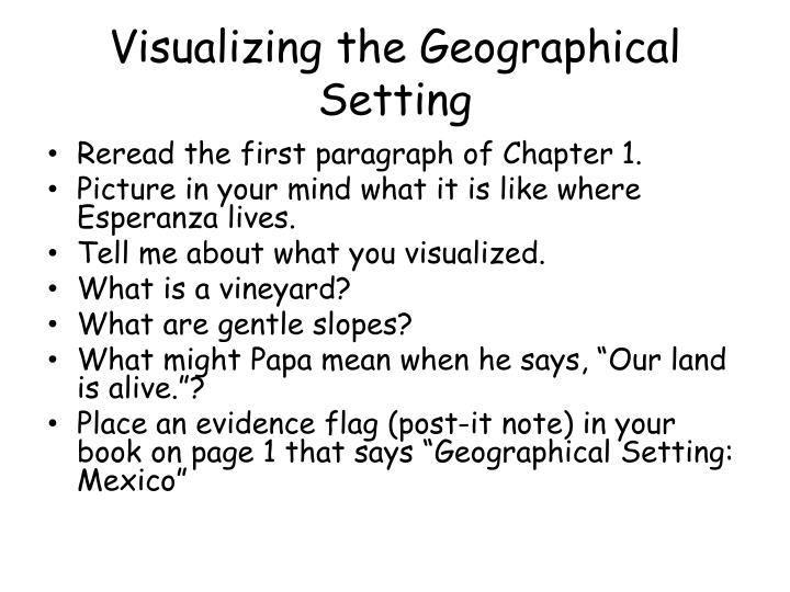 Visualizing the Geographical Setting