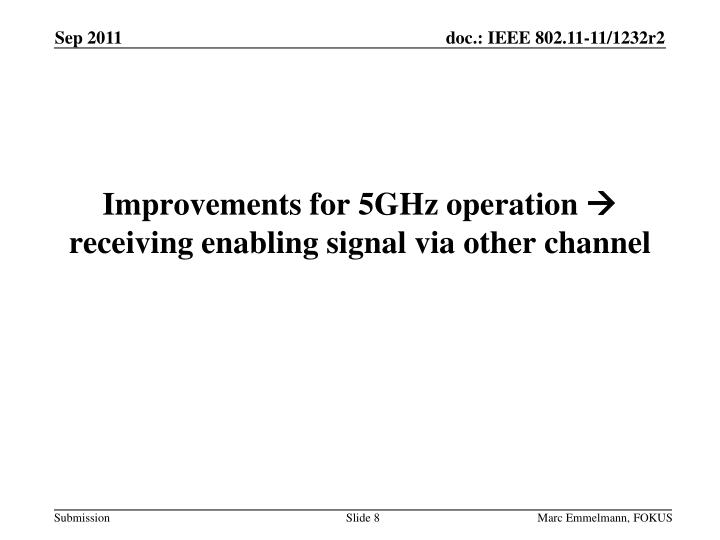 Improvements for 5GHz operation