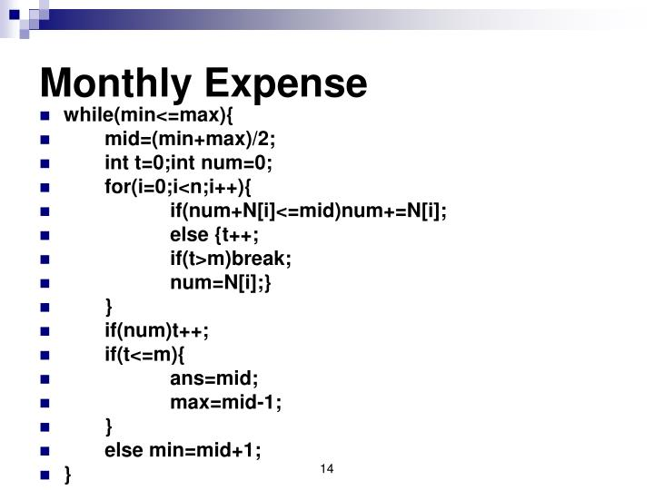 Monthly Expense