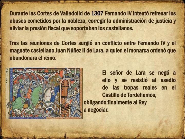Durante las Cortes de Valladolid de