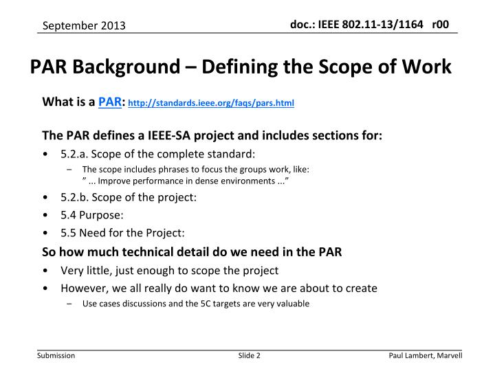 Par background defining the scope of work