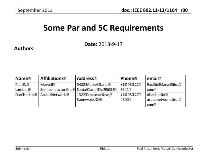 Some Par and 5C Requirements