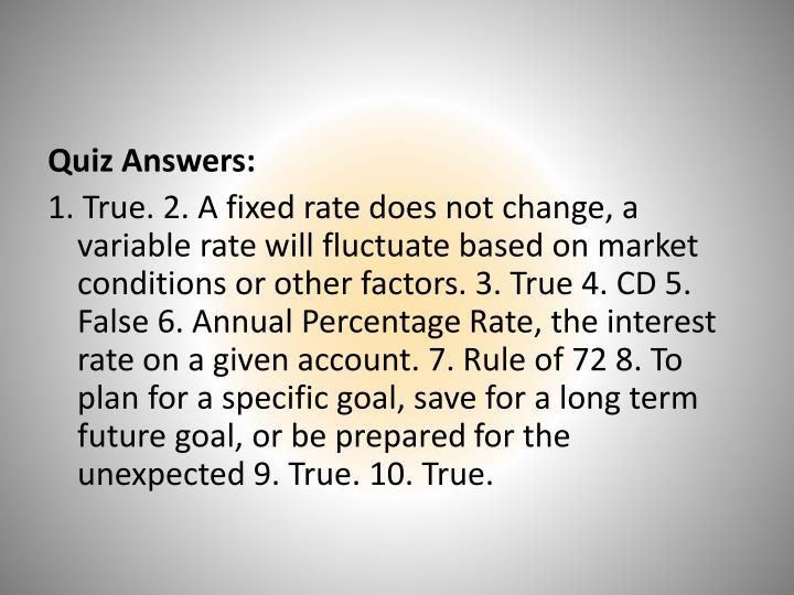 Quiz Answers: