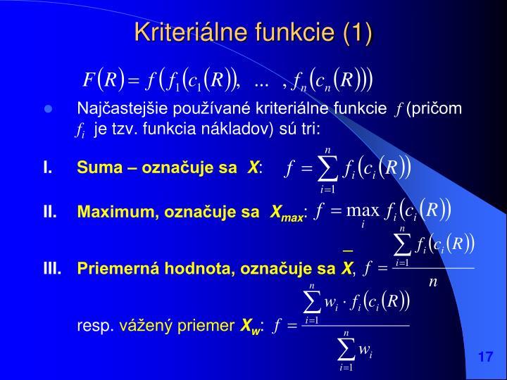 Kriteriálne funkcie (1)