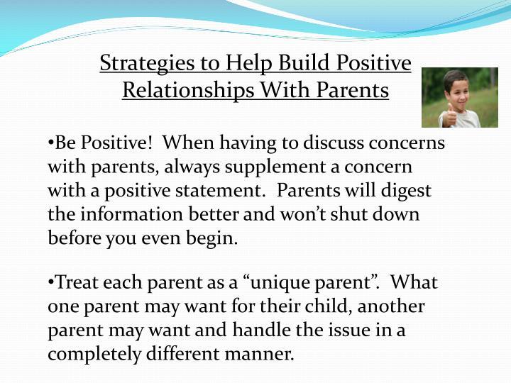 Strategies to Help Build Positive