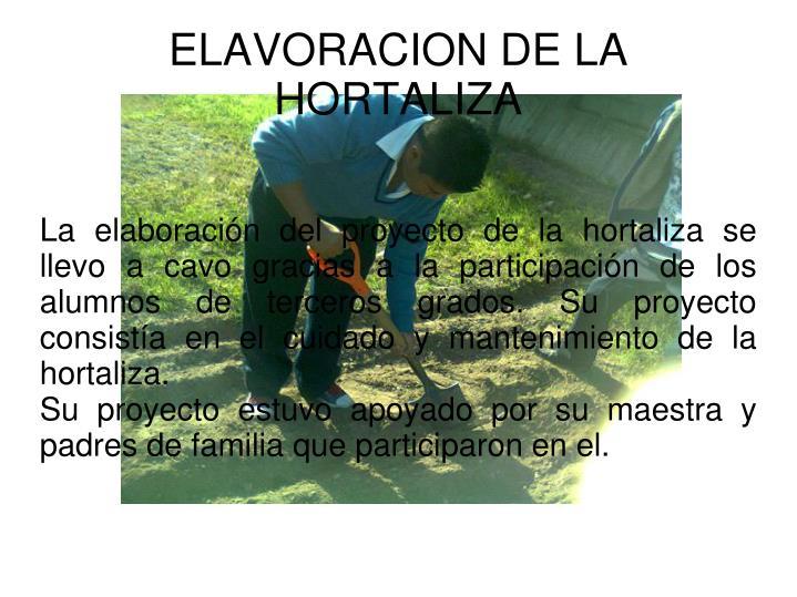 La elaboración del proyecto de la hortaliza se llevo a cavo gracias a la participación de los alumnos de terceros grados. Su proyecto consistía en el cuidado y mantenimiento de la hortaliza.
