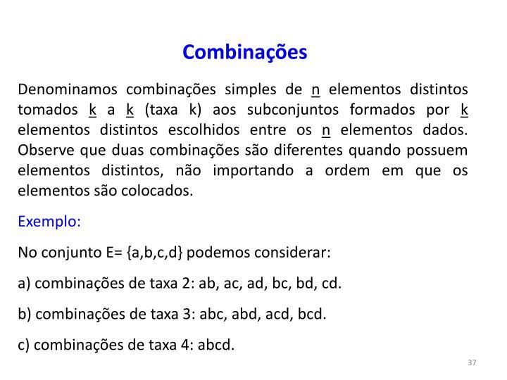Combinações