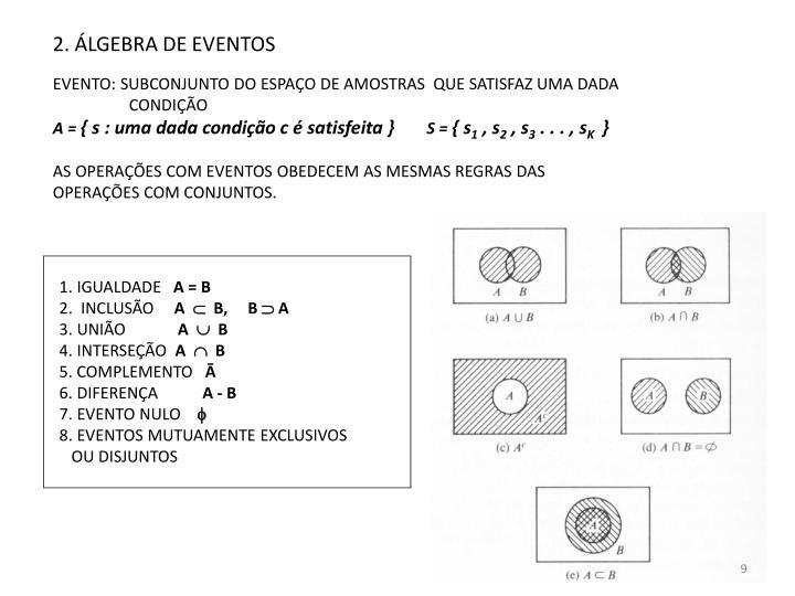 2. ÁLGEBRA DE EVENTOS