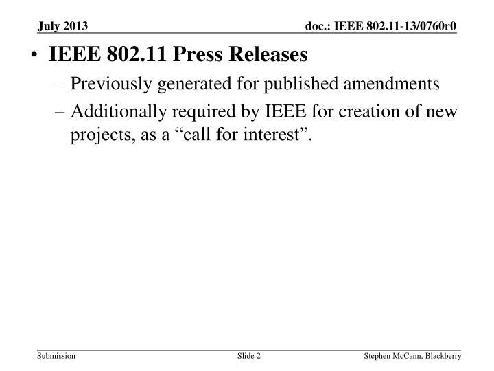 IEEE 802.11 Press Releases
