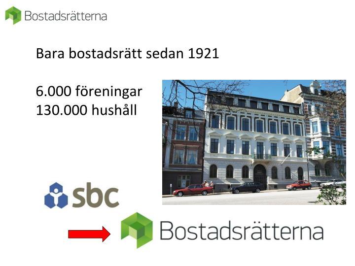 Bara bostadsrätt sedan 1921