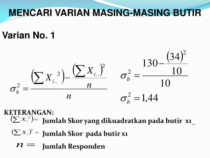MENCARI VARIAN MASING-MASING BUTIR