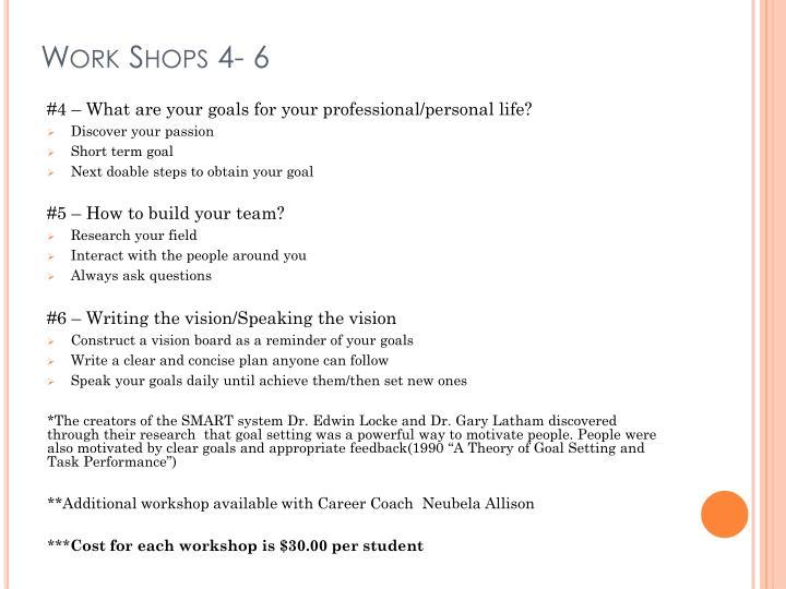 Work Shops 4- 6