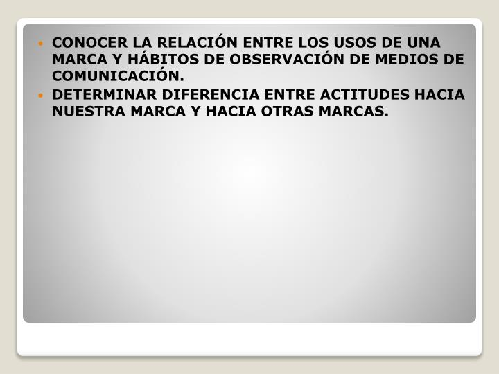 CONOCER LA RELACIN ENTRE LOS USOS DE UNA MARCA Y HBITOS DE OBSERVACIN DE MEDIOS DE COMUNICACIN.